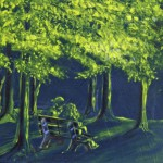 Couple in Neon Forest, 2011, Oil on Canvas