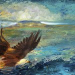 An Eagles Flight, 2013, Oil and Gold Leaf on board, 10x15cm