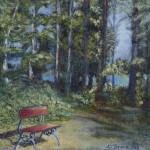 A little Red Bench, 2011, Oil on Canvas
