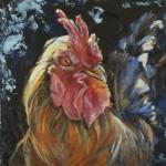 Rooster Joy, 2013, Oil on board, 15x15cm