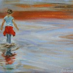 Young Girl walking in Water, 2012, Oil on canvas, 21x30cm